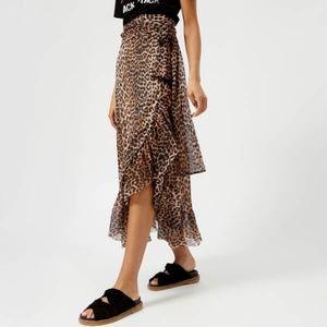 Ganni Tilden Mesh Leopard Print Wrap Skirt Sz 38